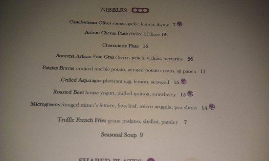 Los Gatos, Californien: Menu snapshot. The website menu could be out of date because Cin-Cin uses seasonal ingredients.