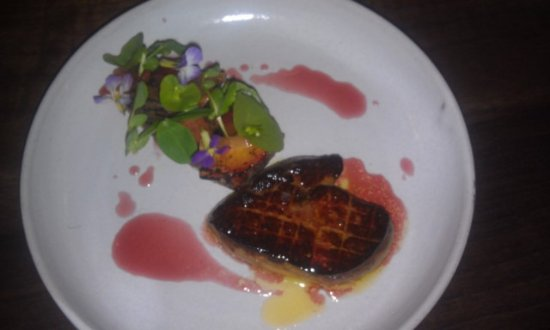 Los Gatos, CA: Foie gras with stone fruit, crostini and cherry gastrique. Seared perfectly.