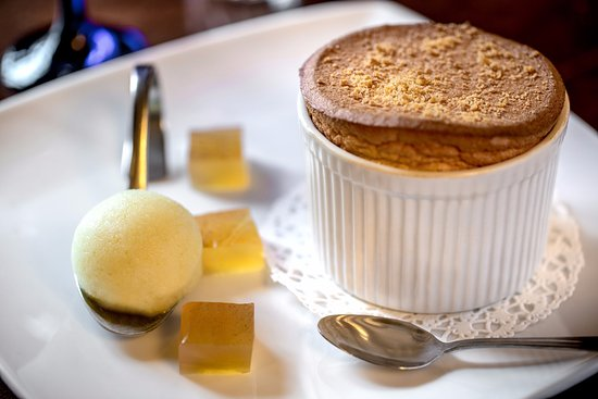 Berkswell, UK: Apple Crumble Soufflé with Apple Ice Cream & Warm Apple Jelly