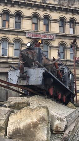 Steampunk HQ: Outside the museum! Put $2 in the slot and see what happens!