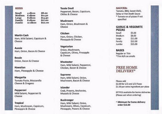New Norfolk, Avustralya: Current Menu Page 2/2 as of 01/05/2017