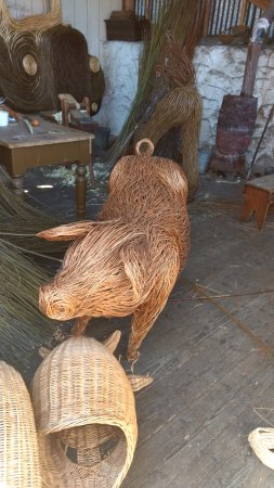 Holywood, UK: Boar, in the weaver's hut. There was actually a workshop on the day we went, to make these.