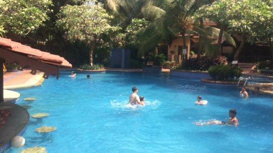 Lemon Tree Amarante Beach Resort, Goa : THE POOL HAS A BAR SO MORE FUN WITH DRINKS BEINE SERVED UP.