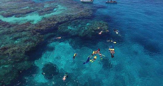 Kuata Island, Fiji: Ariel view of Kuata snorkelling site