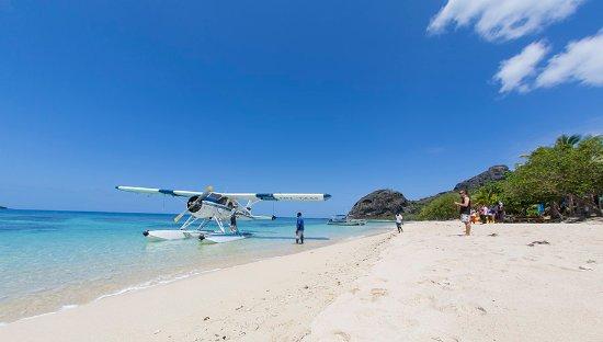 Kuata Island, Fiji: Seaplane landing at Barefoot Kuata