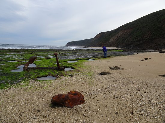 "Great Otway National Park, Australia: Winch & anchors of the ""Marie Garielle"""