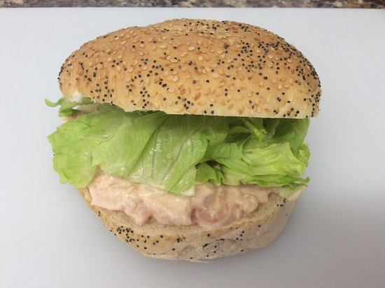 Gloucestershire, UK: Prawn Mayo with lettuce in a Seeded Bap.....just £2.40