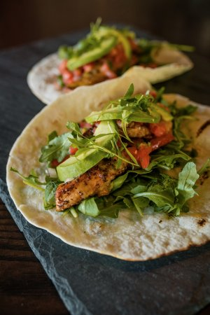 Westport, CT: Large fish tacos: Blackened Mahi-Mahi with arugula, avocado, pico de gallo, and melted cheddar j