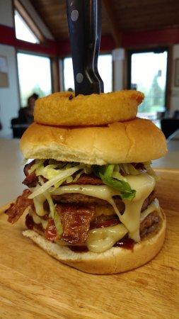 Rexburg, ID: We call this the Viking Burger.  3 1/4lb patties, three cheeses, ham, bacon, and pastrami.