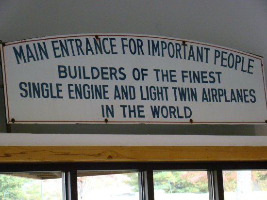 Sign that hung above the doorway to the Beech factory in Wichita, Kansas