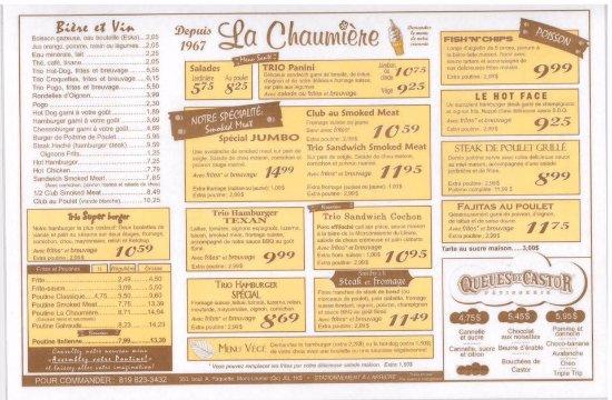 Mont Laurier, Canada: Menu Restaurant