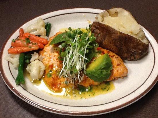 Nekoosa, WI: Fresh Wild Caught Salmon With Avocado, Sprouts and Mango Vinaigrette