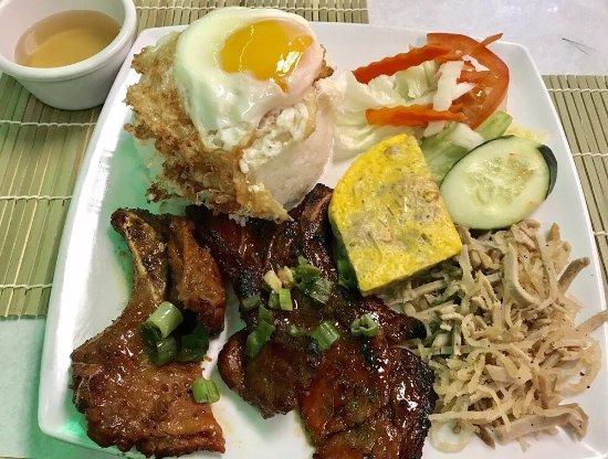 Milpitas, CA: #32 Grilled Pork Chop, Shredded Pork, Eggcake, Fried Egg Over Rice