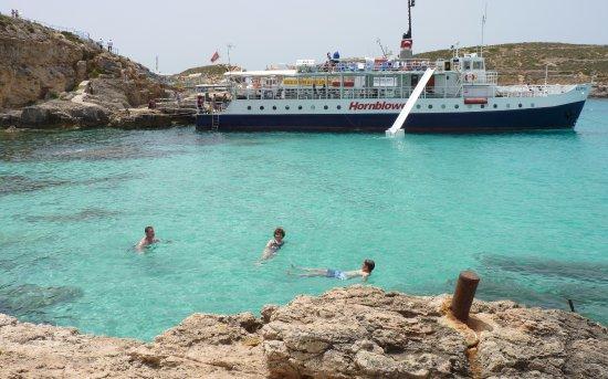 Bugibba, Malta: Le bateau à Comino Blue lagoon