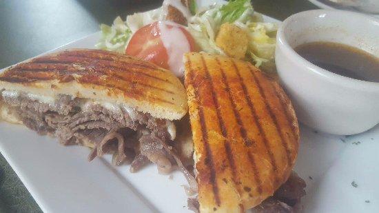 Monroe, WI: Prime Rib Panini on focaccia bread with side salad