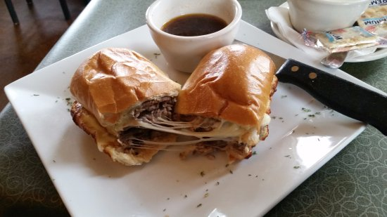 Monroe, WI: Prime Rib Panini served with a side of soup.