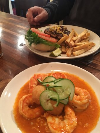Niantic, CT: My favorite dish - Spicy Wild Louisiana Gulf Shrimp and the Tuna Burger