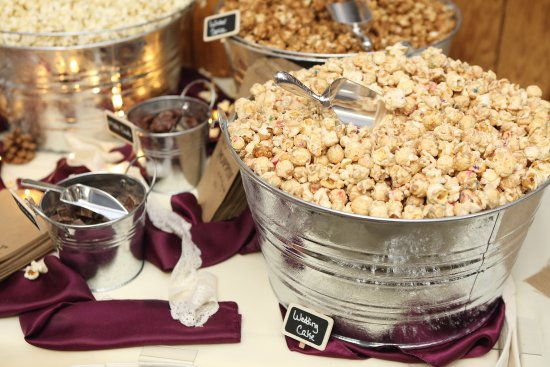 West Bend, WI: Our brides often choose our Wedding Cake flavor for their popcorn bars.