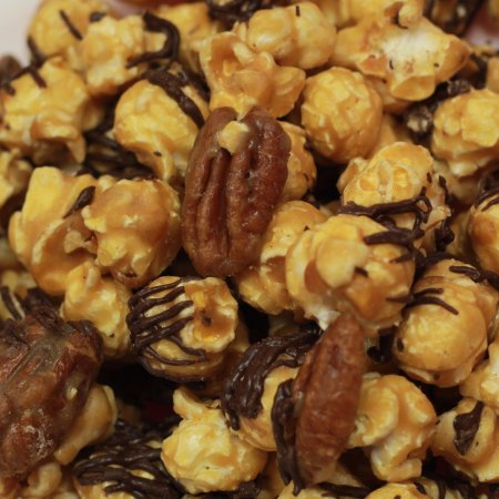 West Bend, WI: Turtle: buttery caramel corn with caramel glazed pecans all drizzled with decadent dark chocolat