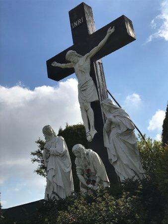 Knock, Ireland: Cross with Christ in the garden.