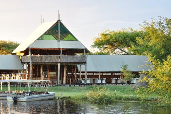Katima Mulilo, Namibia: Tented main lodge from river.