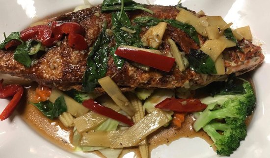 Redington Shores, Floride : Whole red snapper with basil sauce and more