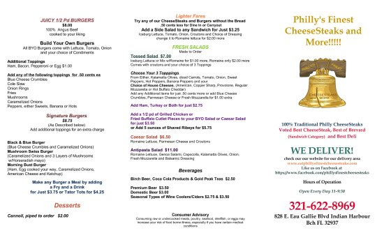 Indian Harbour Beach, FL: Philly's New Menu Front 2017