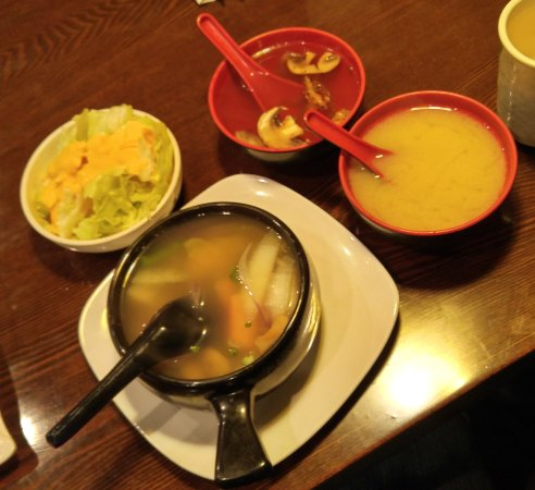 Mentor-on-the-Lake, OH: salad with ginger dressing and soups