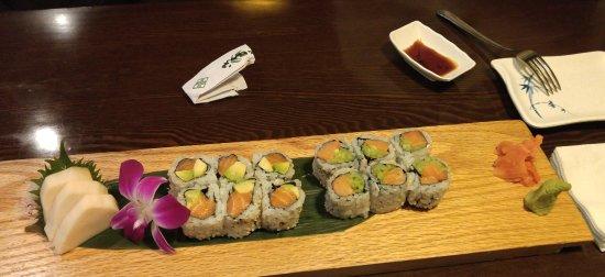 Mentor-on-the-Lake, OH: white tuna sashimi; salmon/avocado; smoked salmon and cucumber