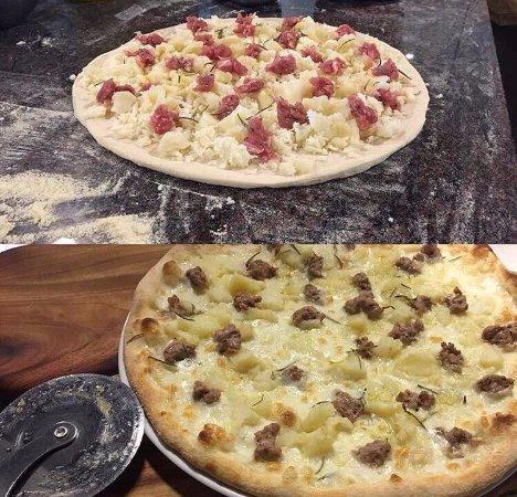 Toukley, Αυστραλία: Potato on a pizza!!!  Our delicious Patatosa with Mozzarella, Italian Sausage, Potato and rosema