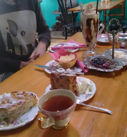 Burra, Australia: French apple & rhubarb cake, scones (one bite left), choc shake! Delish!