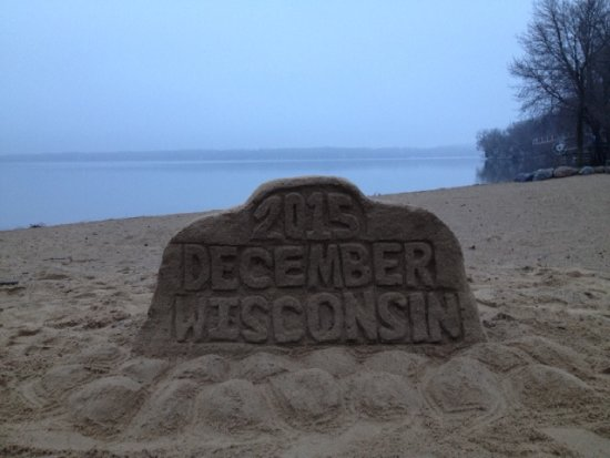 Lake Mills, WI: During a mild winter we made this at Bartels Beach