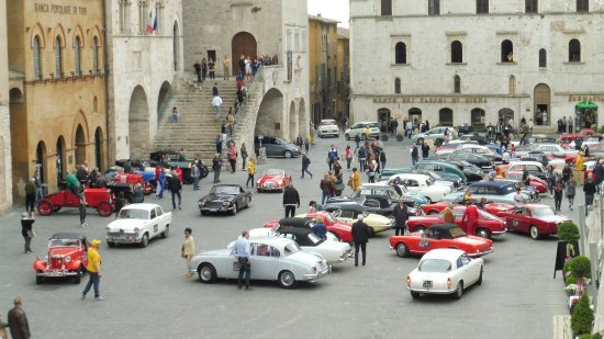 Todi, Italy: classic car rally in the square