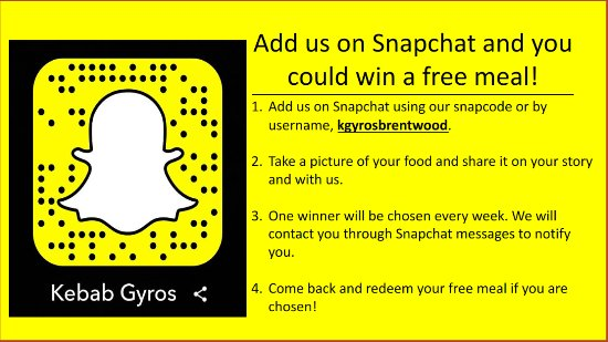Brentwood, Теннесси: Add us on Snapchat for a chance to win a free meal!