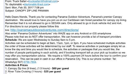 Portobelo, بنما: Email Stating 9 Zip Lines
