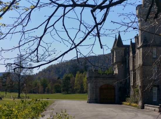 Ballater, UK: Balmoral estate, view from shelter (? sentry's position) of terrace at the front of the house