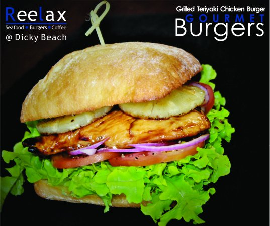 "Dicky Beach, Australia: Gourmet Burger Menu ""Teriyaki Chicken"""