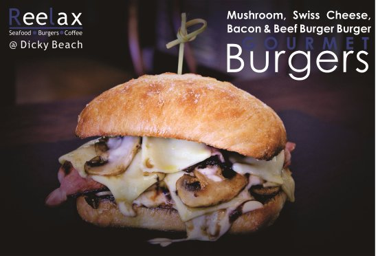 "Dicky Beach, Australia: Gourmet Burger Menu "" Swiss Mushroom"""