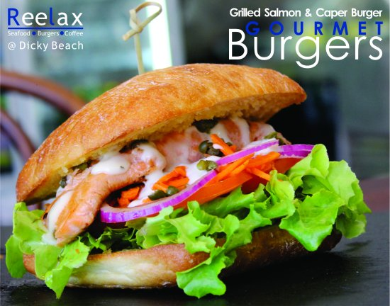 "Dicky Beach, Australia: Gourmet Burger Menu ""Grilled Salmon"""