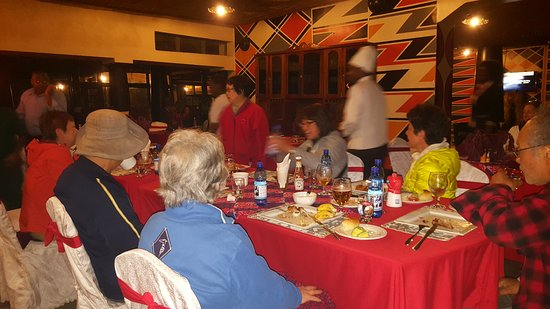 Clients at Le Bambou Gorilla Lodge during their dinner on May 18th, 2017