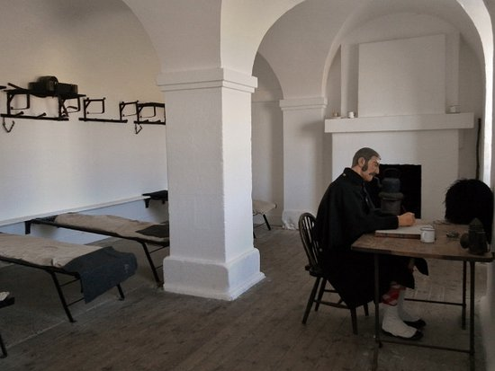 Ardersier, UK: Fort George, guardroom - a wax model rather than a re-enactor!