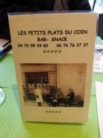 Lapalisse, ฝรั่งเศส: La carte des menus et vins