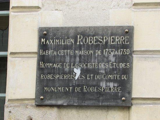 La Maison de Robespierre  plaque commémorative