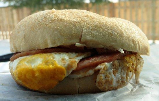 Marlton, NJ: Pork Roll and Egg on a Toasted Kaiser Roll