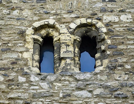 Rochester Castle: A detail of windows to the exterior of the keep