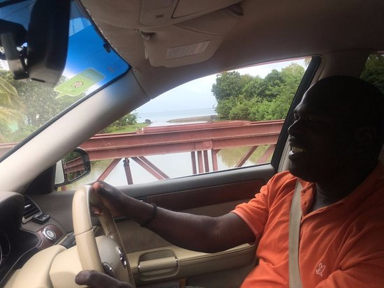 Gros Islet, St. Lucia: Owin driving