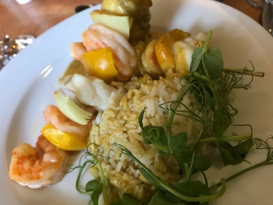 Padiham, UK: monkfish and king prawn kebab curry rice
