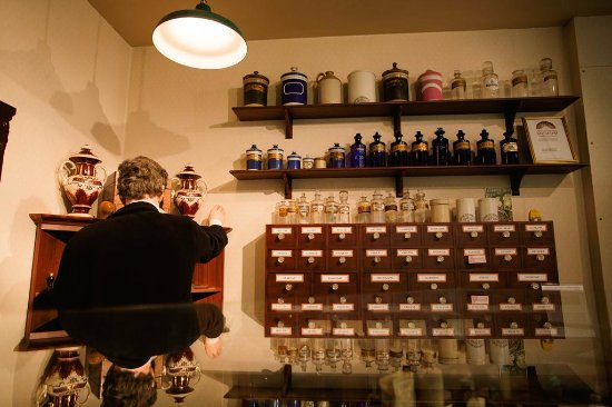 Worcester, UK: the apothecary shop at the museum