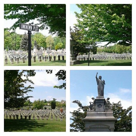Grandview Cemetery: A collage of the cemetary where the unknown dead from the flood were buried