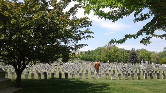 Grandview Cemetery: A view out towards the burial of over 700 unknown dead were buried after the flood